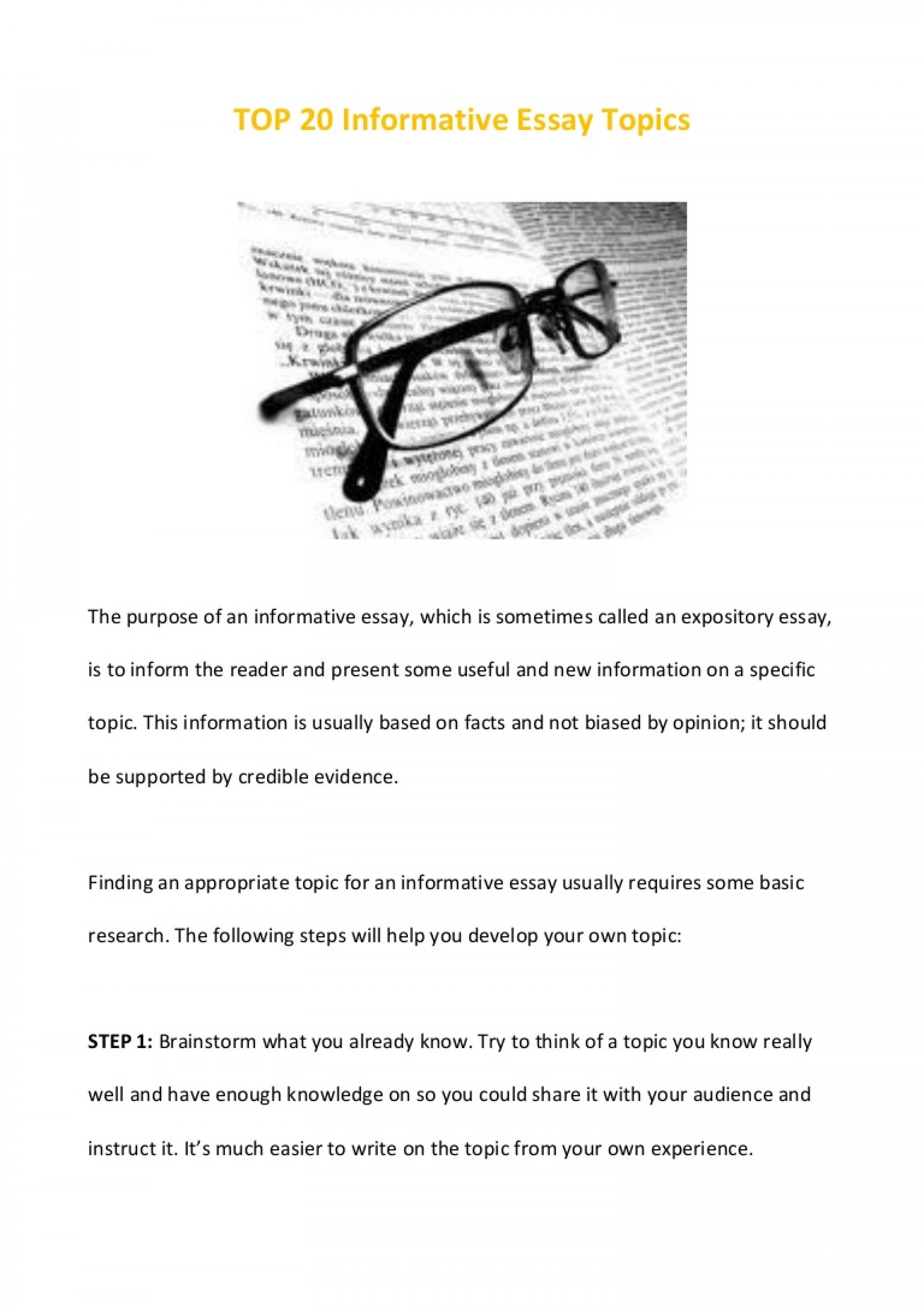 011 Essay Example Top20informativeessaytopics Phpapp02 Thumbnail Informative Remarkable Topics Expository For Secondary School 4th Grade 5th 1920