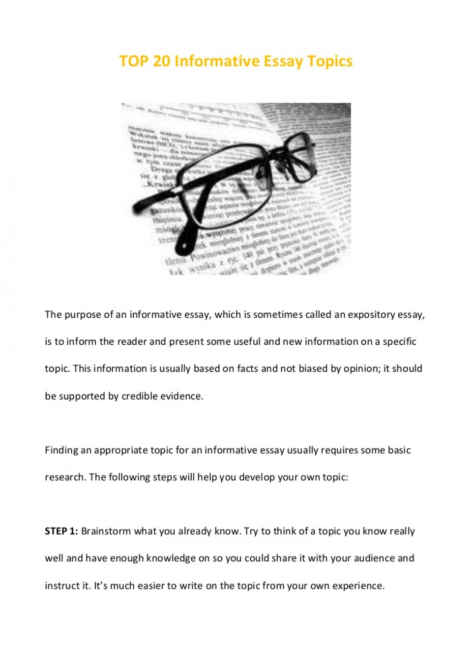 011 Essay Example Top20informativeessaytopics Phpapp02 Thumbnail Informative Remarkable Topics Expository For Secondary School 4th Grade 5th 960