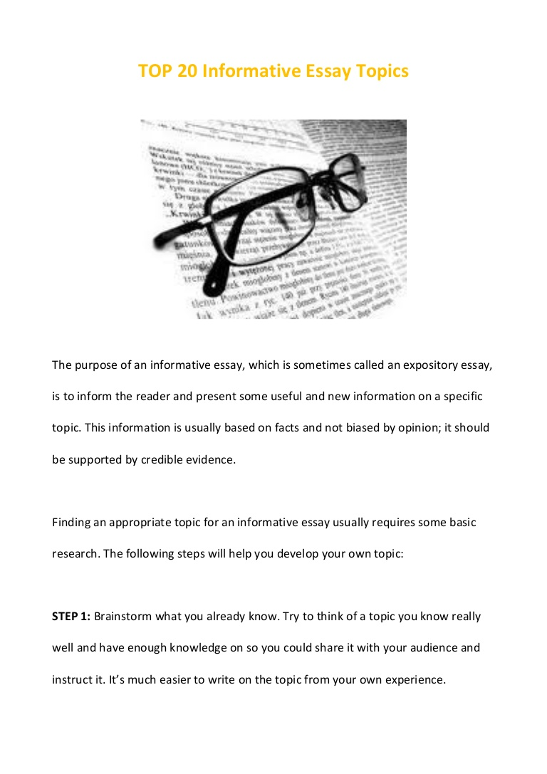 011 Essay Example Top20informativeessaytopics Phpapp02 Thumbnail Informative Remarkable Topics Prompt 4th Grade Prompts For High School Expository College Students Full