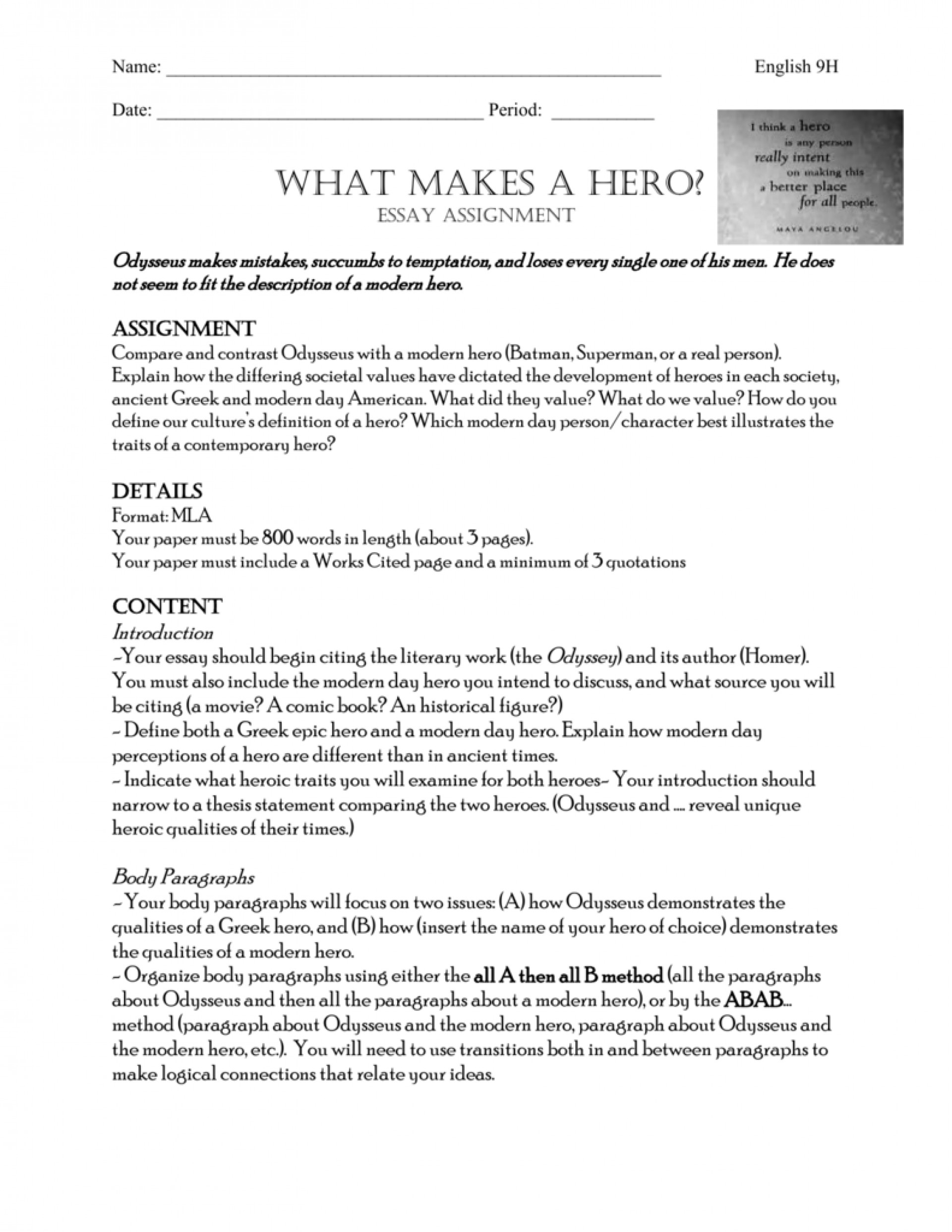 011 Essay Example What Makes Hero 009252566 1 Formidable A Is Examples 1920