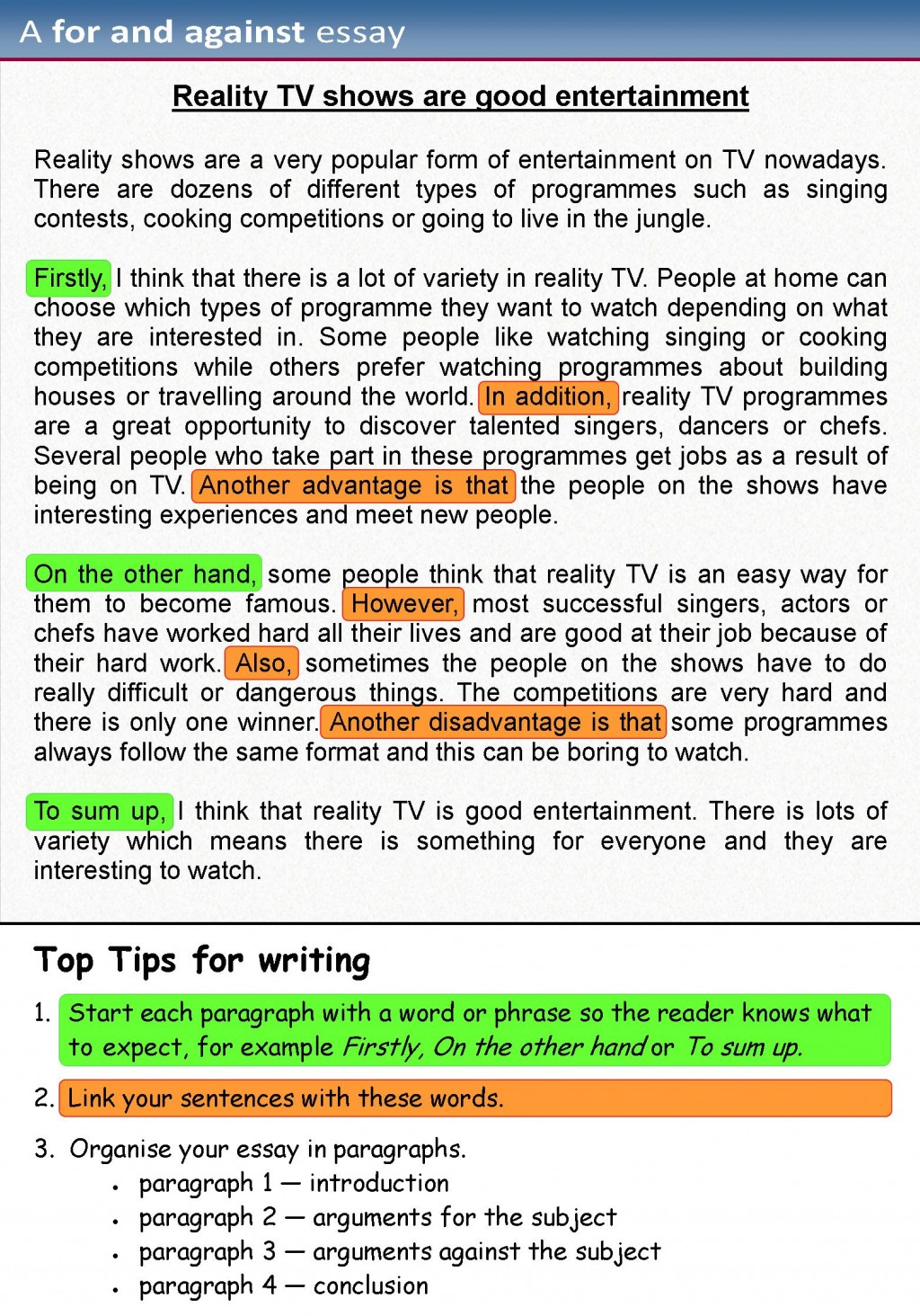 011 For Against Essay 1 Example Paragraph Sensational 3 Kids Large