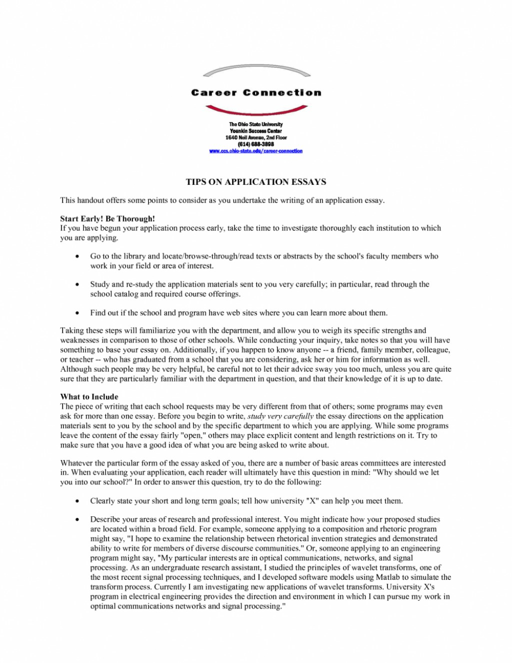 011 Fsu Essay Prompt Example Samples University Application Examples Sample Gb6xr Florida State Unique Care Program Large