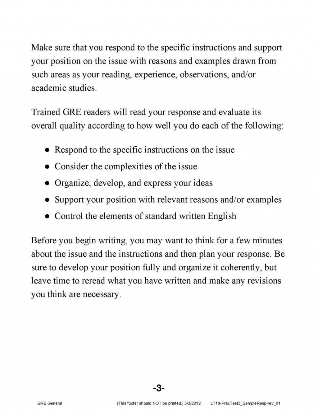 011 Gre Argument Essay Template Example Analytical Writing Sample Essays Frightening Large