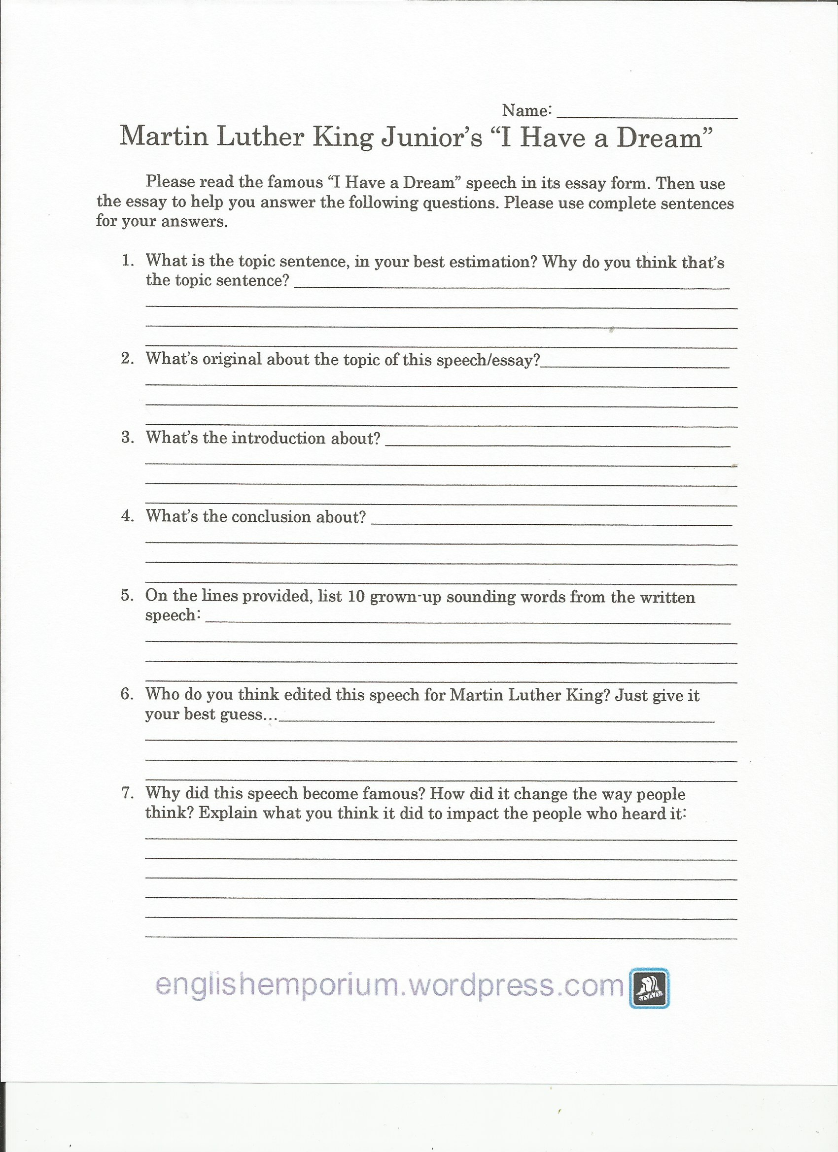 011 I Have Dream Essay Martin Luther King Worksheet Page1 Frightening A Contest Prompt Writing High School Full