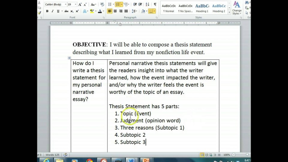 011 Maxresdefault Essay Example Thesis Statement For Staggering Narrative The A Should Be Created During Generator 960