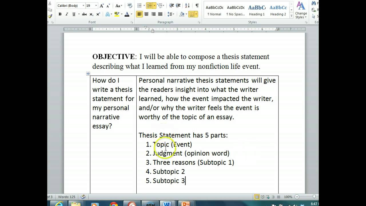 011 Maxresdefault Essay Example Thesis Statement For Staggering Narrative How To Write A Personal Examples The Should Be Created During Brainly Full