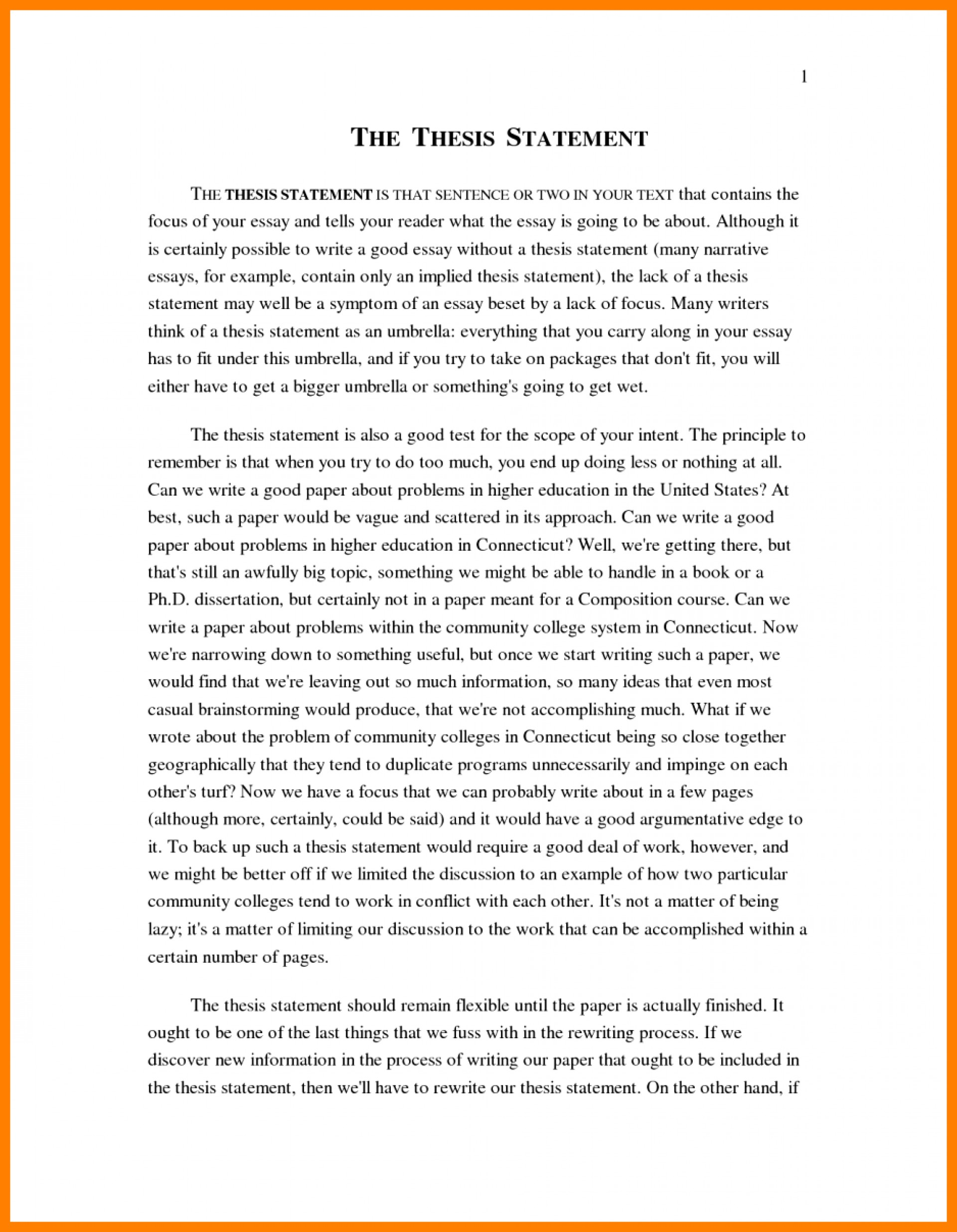 A Level English Essay Structure  High School And College Essay also Thesis Persuasive Essay  Narrative Example Essay High School Personal Examp  Examples Of A Thesis Statement In An Essay