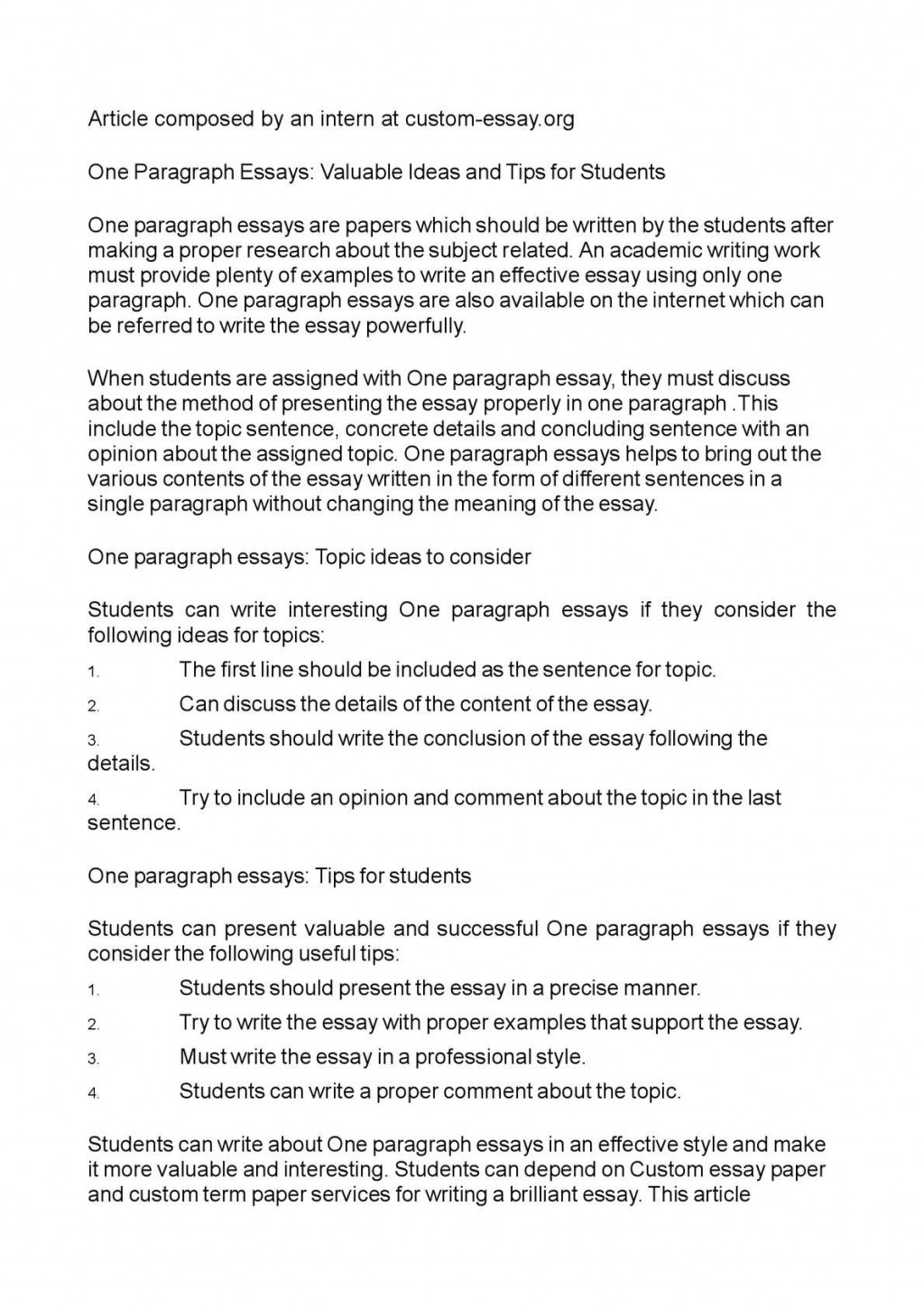 011 P1 One Paragraph Essay Topics Magnificent Large