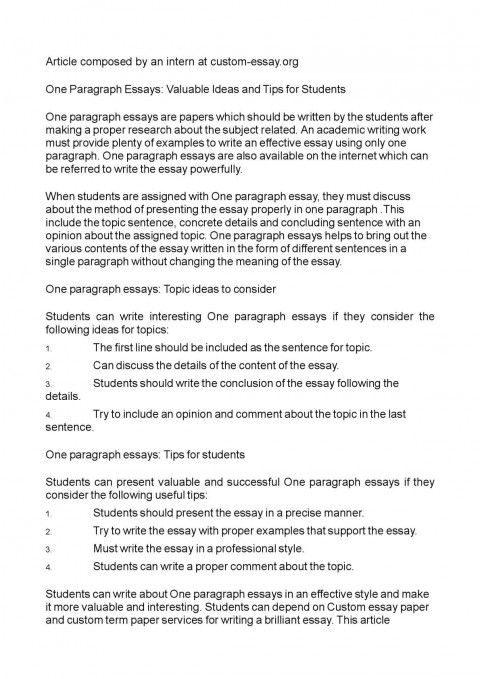 011 P1 One Paragraph Essay Topics Magnificent 480