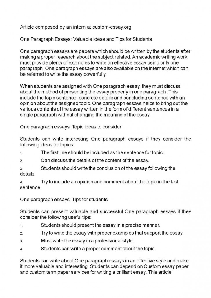 011 P1 One Paragraph Essay Topics Magnificent 728