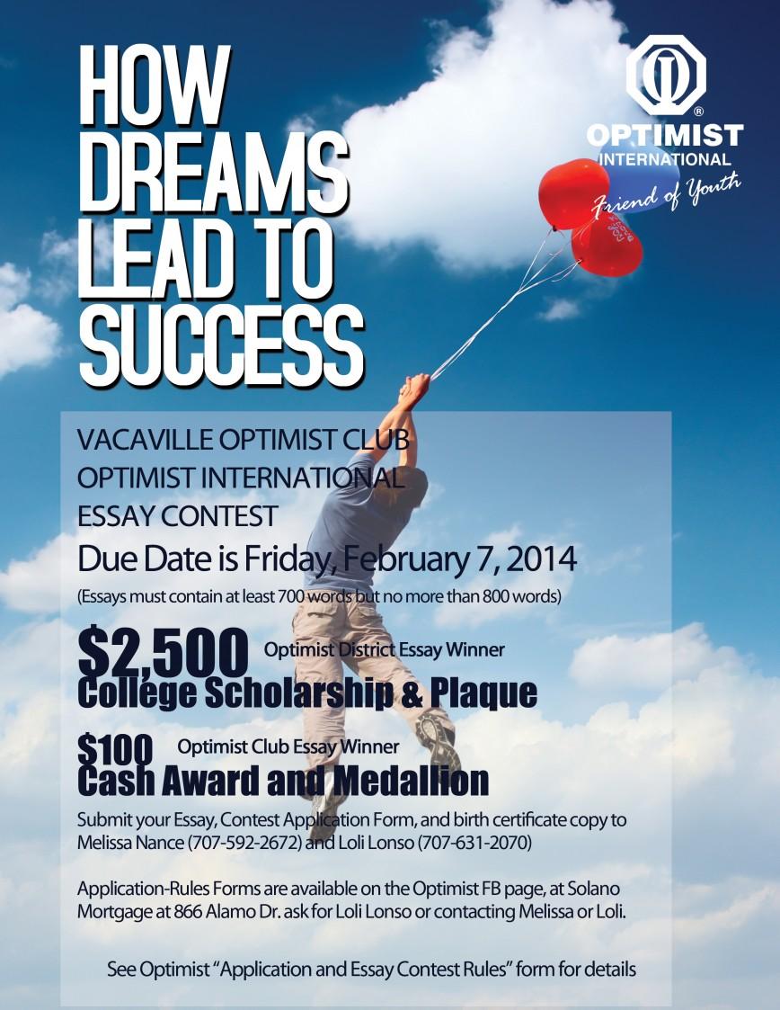 011 Postivie Outlook Essay Contest Final Example Optimist Wondrous International Winners Due Date Club