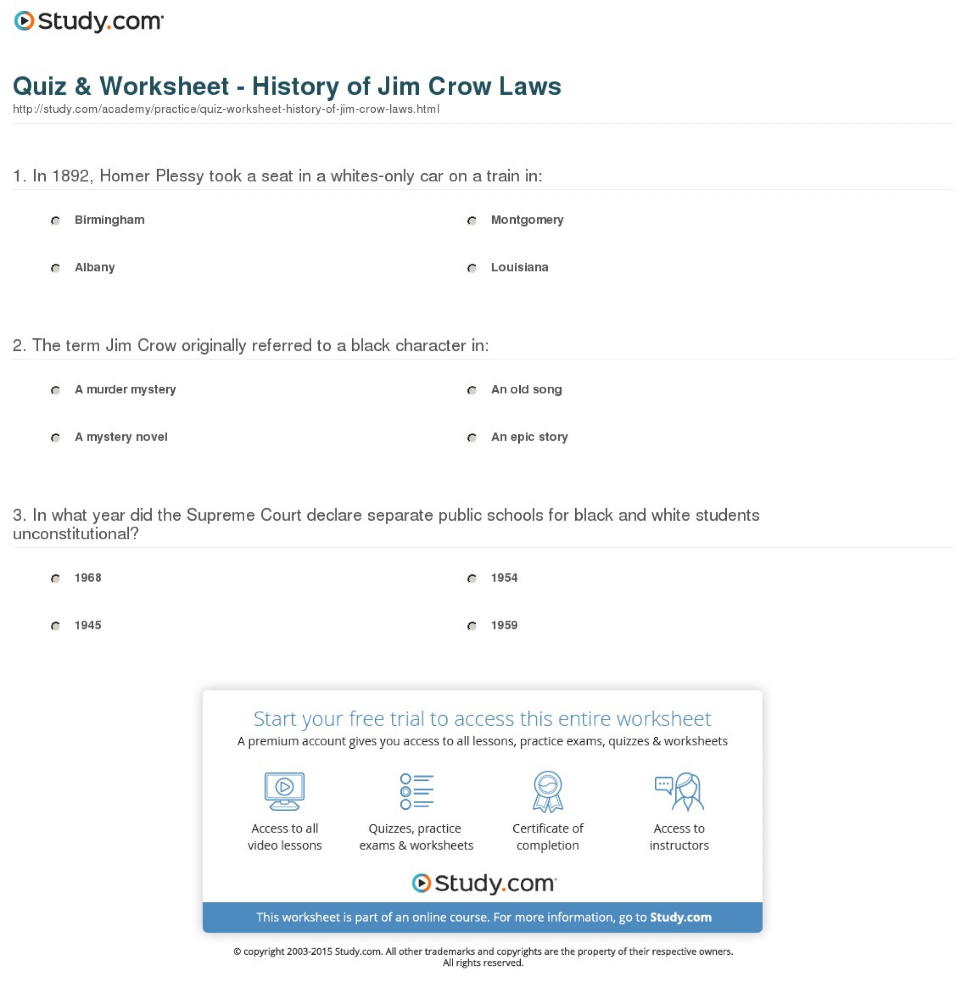 011 Quiz Worksheet History Of Jim Crow Laws Essay Example Definition Striking Topics For College Students Middle School 1920