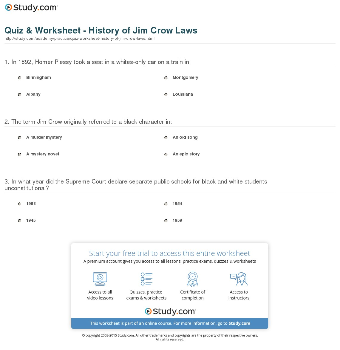 011 Quiz Worksheet History Of Jim Crow Laws Essay Example Definition Striking Topics For College Students Middle School Full