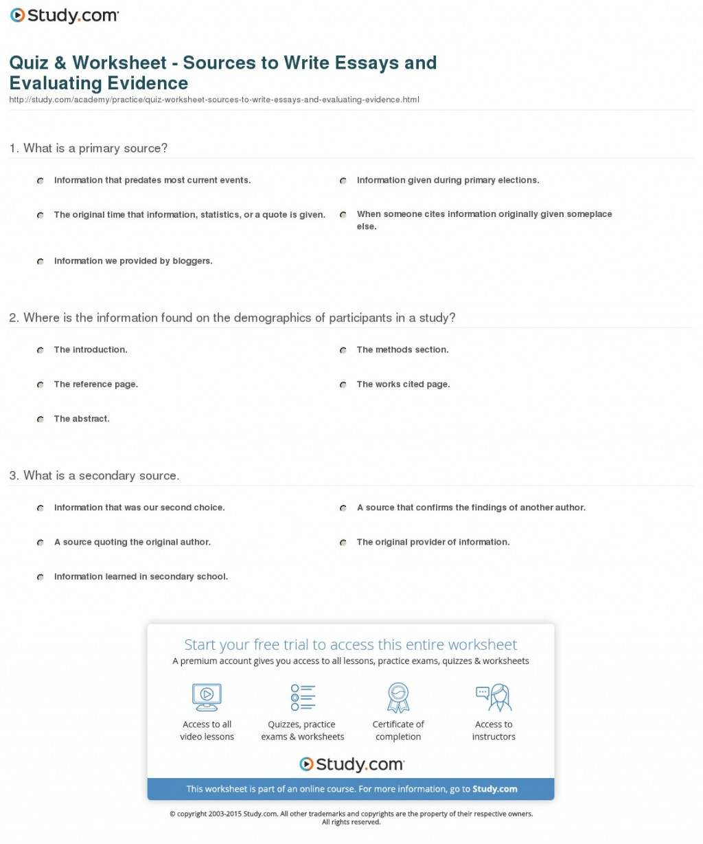 011 Quiz Worksheet Sources To Write Essays And Evaluating Evidence Essay Example In Fascinating Spanish Tips For Writing Written Phrases Large