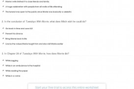 011 Quiz Worksheet Tuesdays With Morrie Chapters Essay Striking Topics Writing Prompts Paper