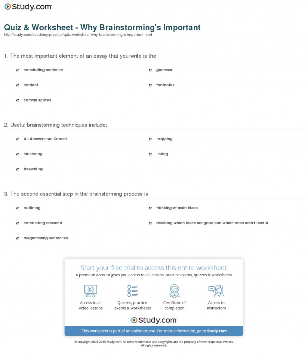 011 Quiz Worksheet Why Brainstorming S Important Essay Outstanding Writing Techniques Topics College Large