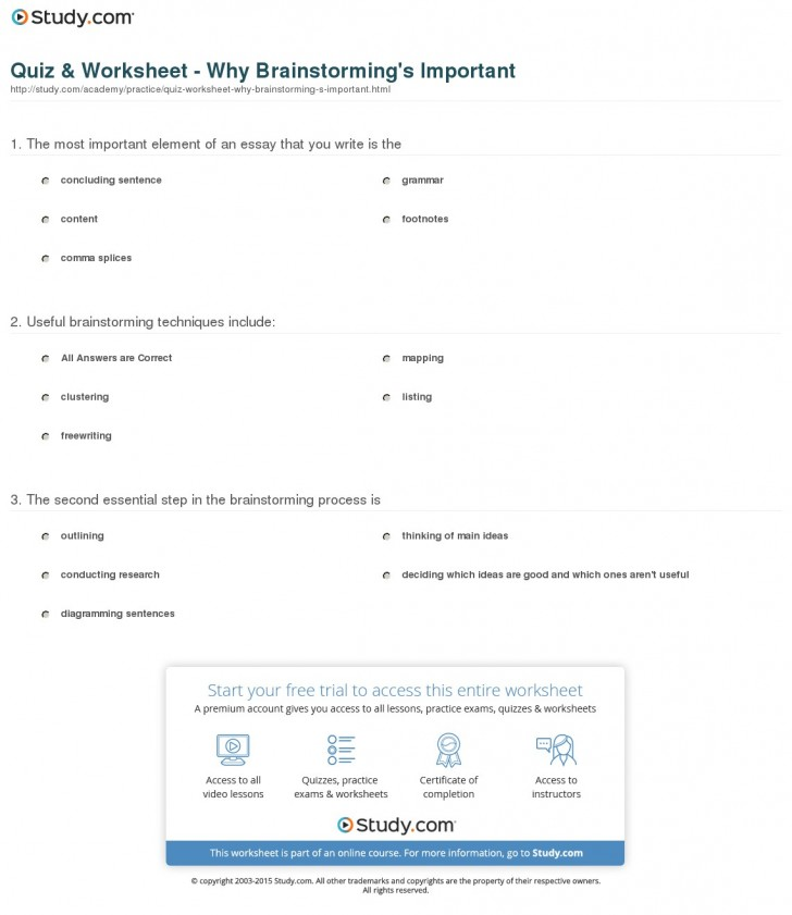011 Quiz Worksheet Why Brainstorming S Important Essay Outstanding Writing Techniques Topics College 728