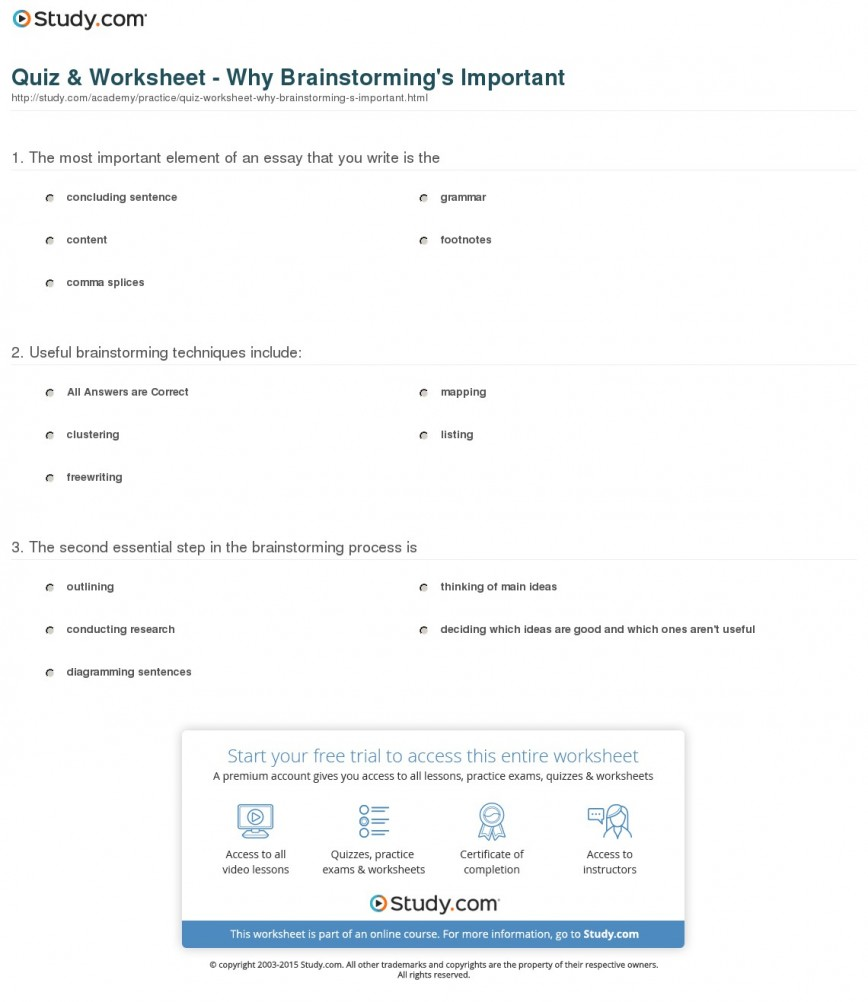011 Quiz Worksheet Why Brainstorming S Important Essay Outstanding Writing Techniques Topics College 868