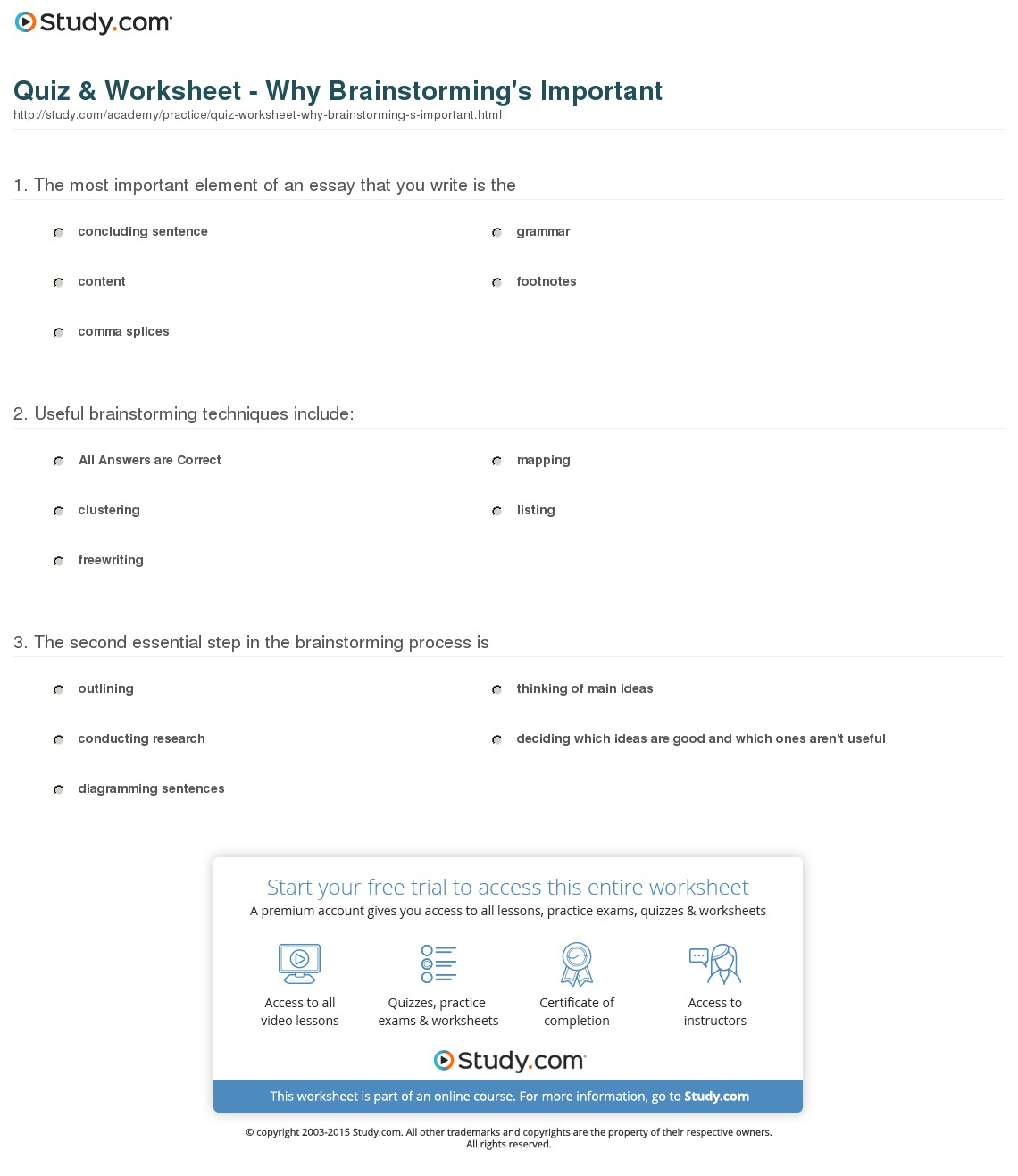 011 Quiz Worksheet Why Brainstorming S Important Essay Outstanding Writing Techniques Topics College Full