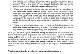 011 Reflective Essay Outline Example How Write To An Of On Review College Template For Purdue Owl Compare Contrast Picture Persuasive Argumentative Examples Narrative Magnificent Reflection Paper Layout Course