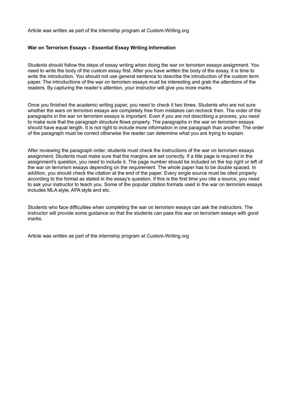 011 Terrorism Essay P1 Wonderful Topics In English War On Full