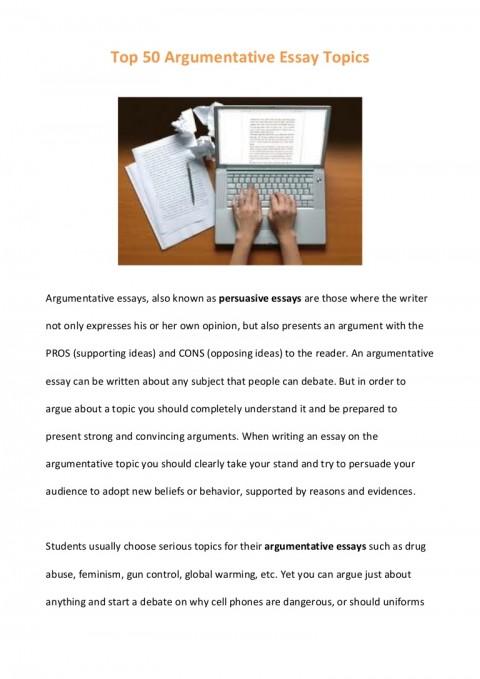 011 Top50argumentativeessaytopics Phpapp01 Thumbnail Debate Essay Topics Marvelous Prompts Persuasive High School 480