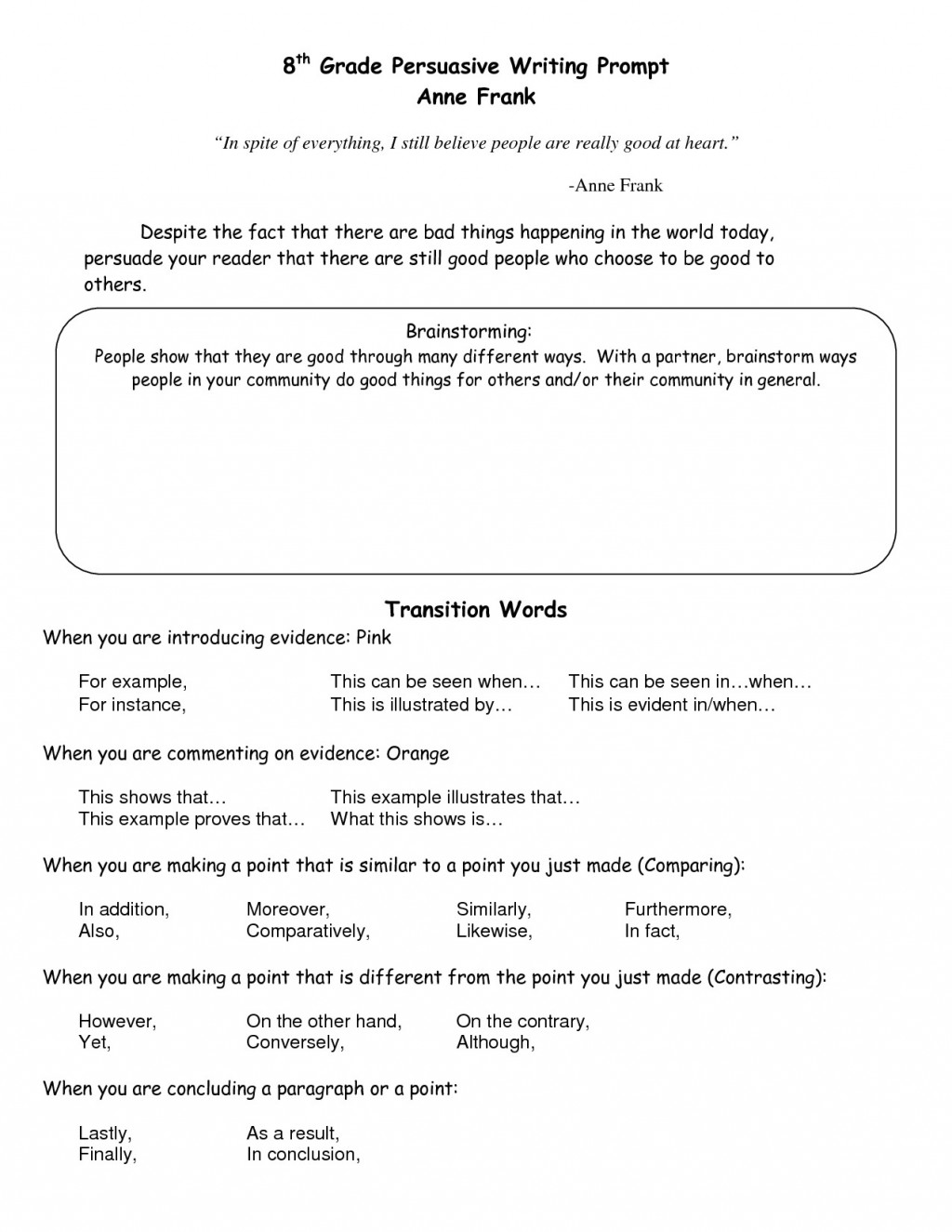 011 Transition Words For Essays Worksheet Fresh In An Essay Writing Beste List Of Transitional Pdf Argumentative Rare 4th Grade Large