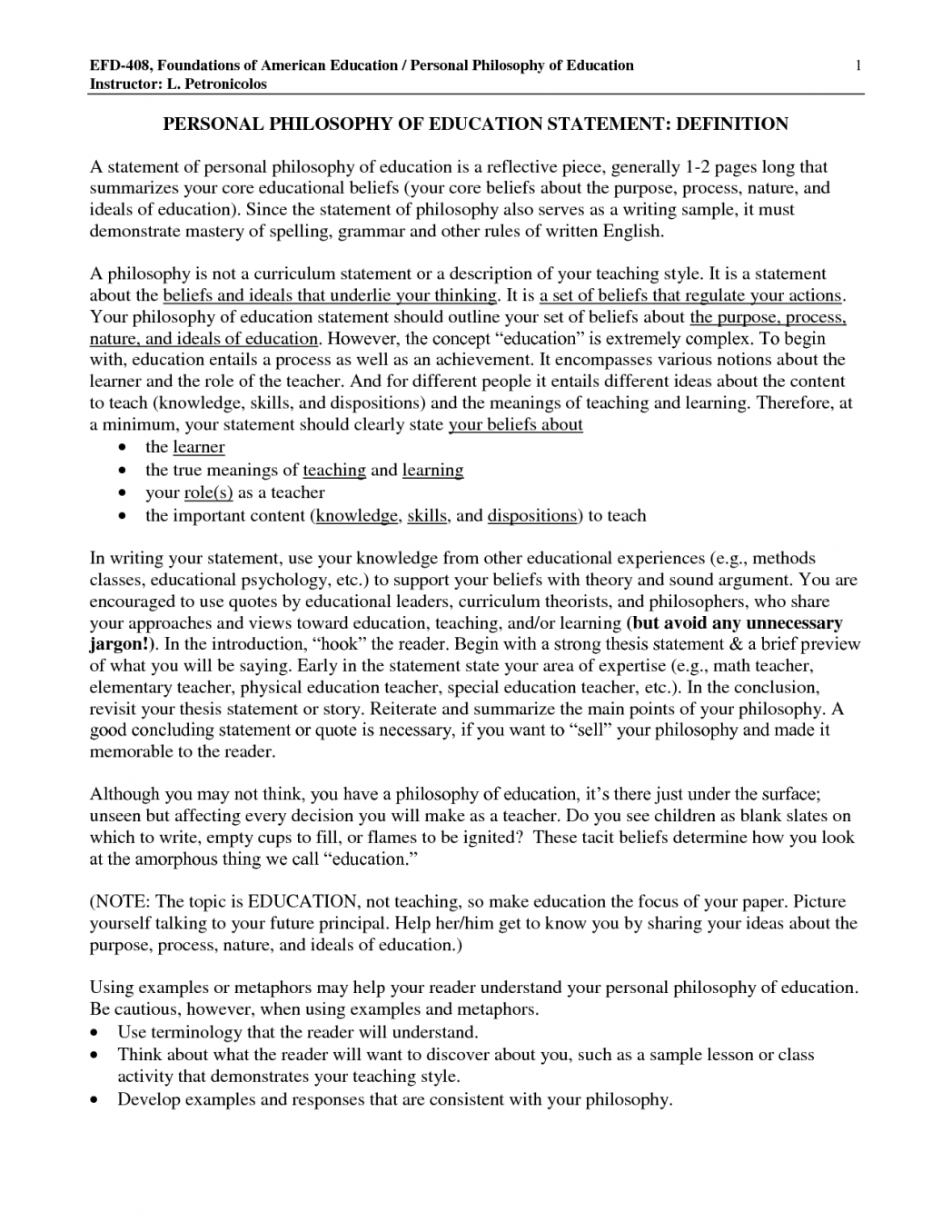 philosophy of education research paper