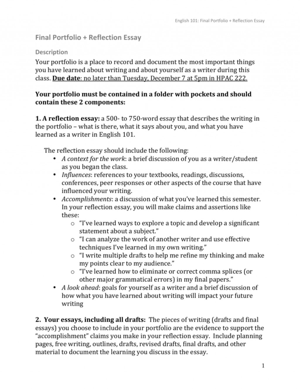 012 008744292 1 Reflection Essay Formidable Self Rubric Paper Outline Template Reflective Writing Format Large