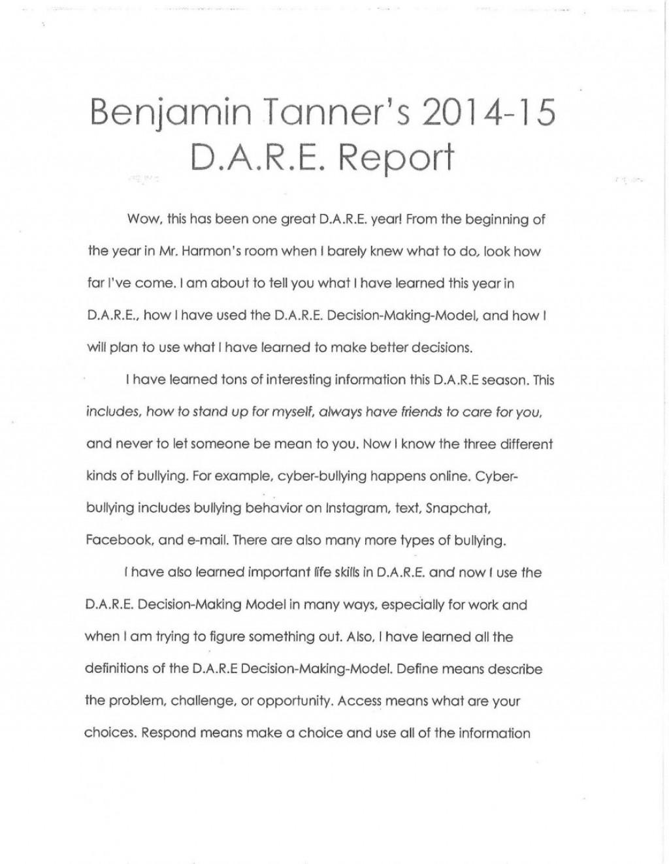012 5th Grade Dare Essay Example Winning Essays Brennen Elem Examples Winner Of For Outstanding Large