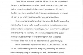 012 5th Grade Dare Essay Example Winning Essays Brennen Elem Examples Winner Of For Outstanding