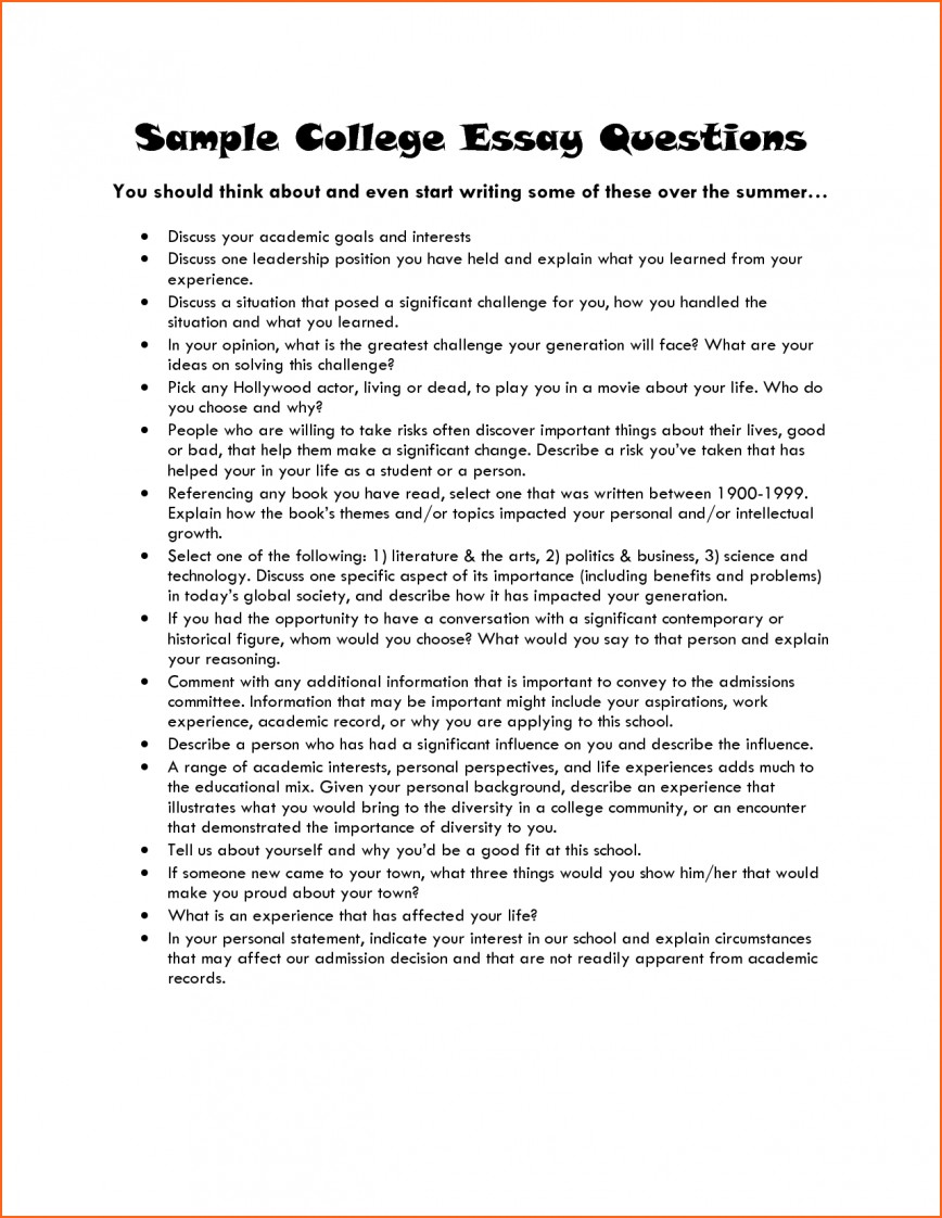 012 College Application Essays Excellent Essay Prompts Topics Byu