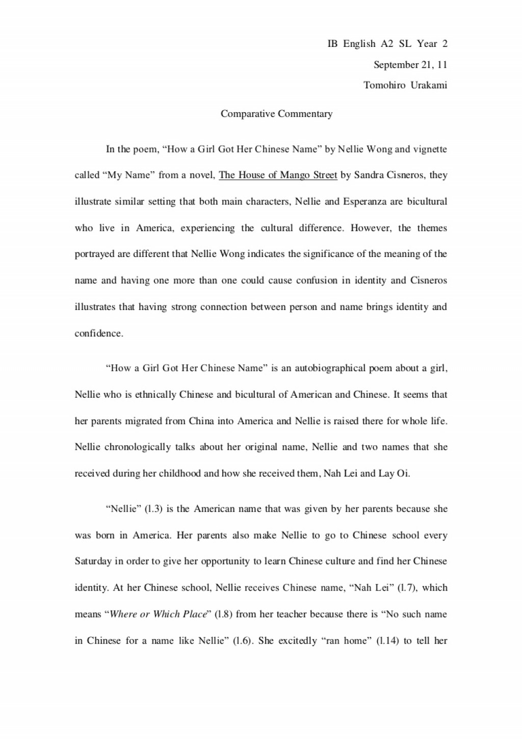 012 Comparativeessaydraft Phpapp02 Thumbnail Essay Example My Stunning Name College Esperanza Conclusion Large