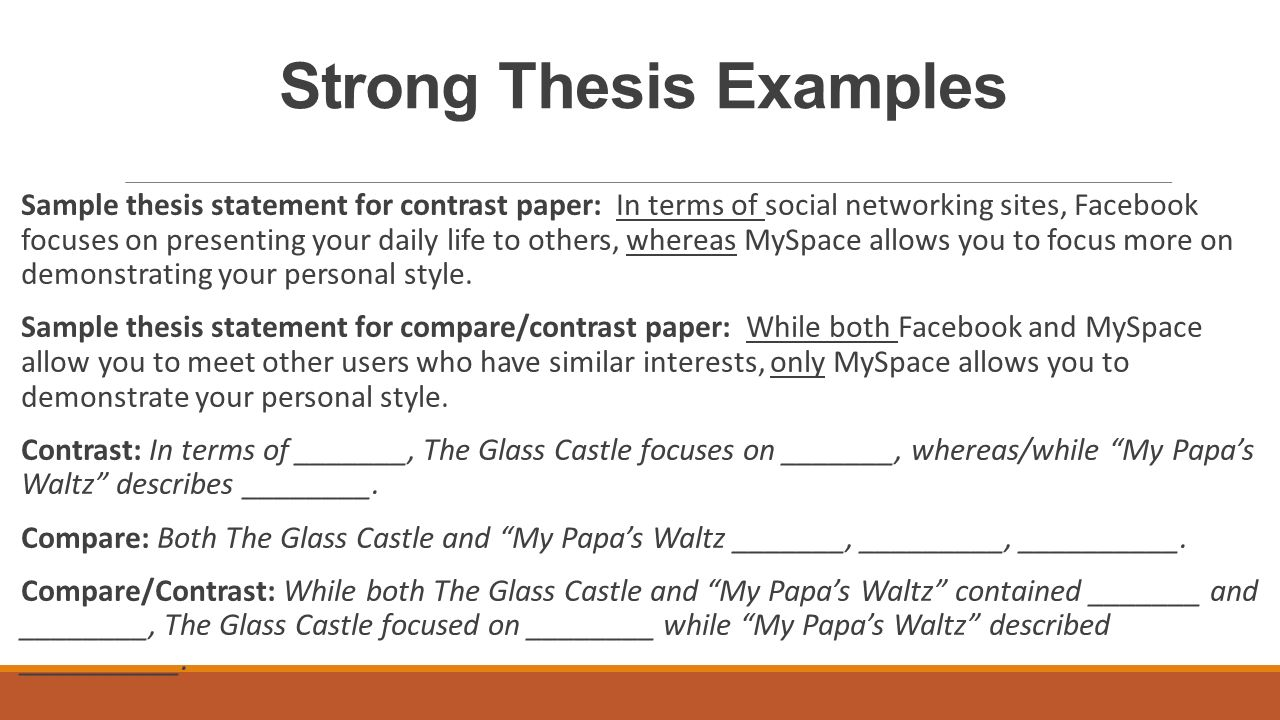 Thesis statement for compare and contrast essay