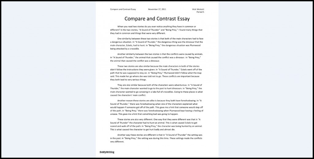 012 Compare And Contrast Essays Sample Archaicawful Essay Pdf High School College For 5th Grade Large