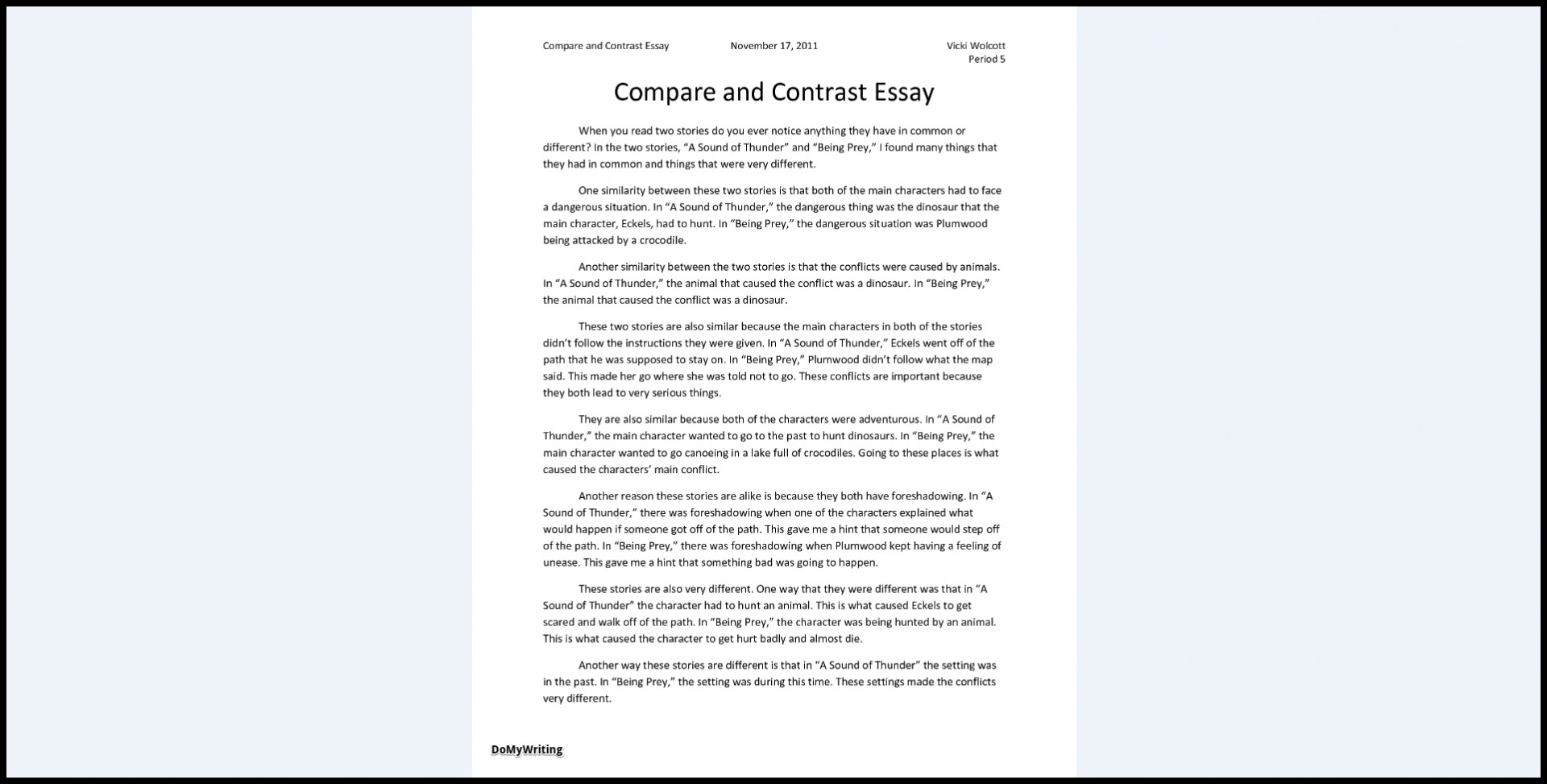 012 Compare And Contrast Essays Sample Archaicawful Essay Pdf High School College For 5th Grade 1920