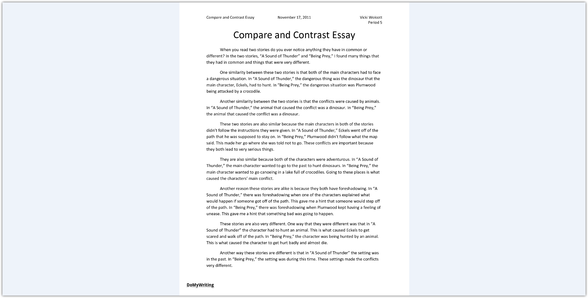 012 Compare And Contrast Essays Sample Archaicawful Essay Pdf High School College For 5th Grade Full