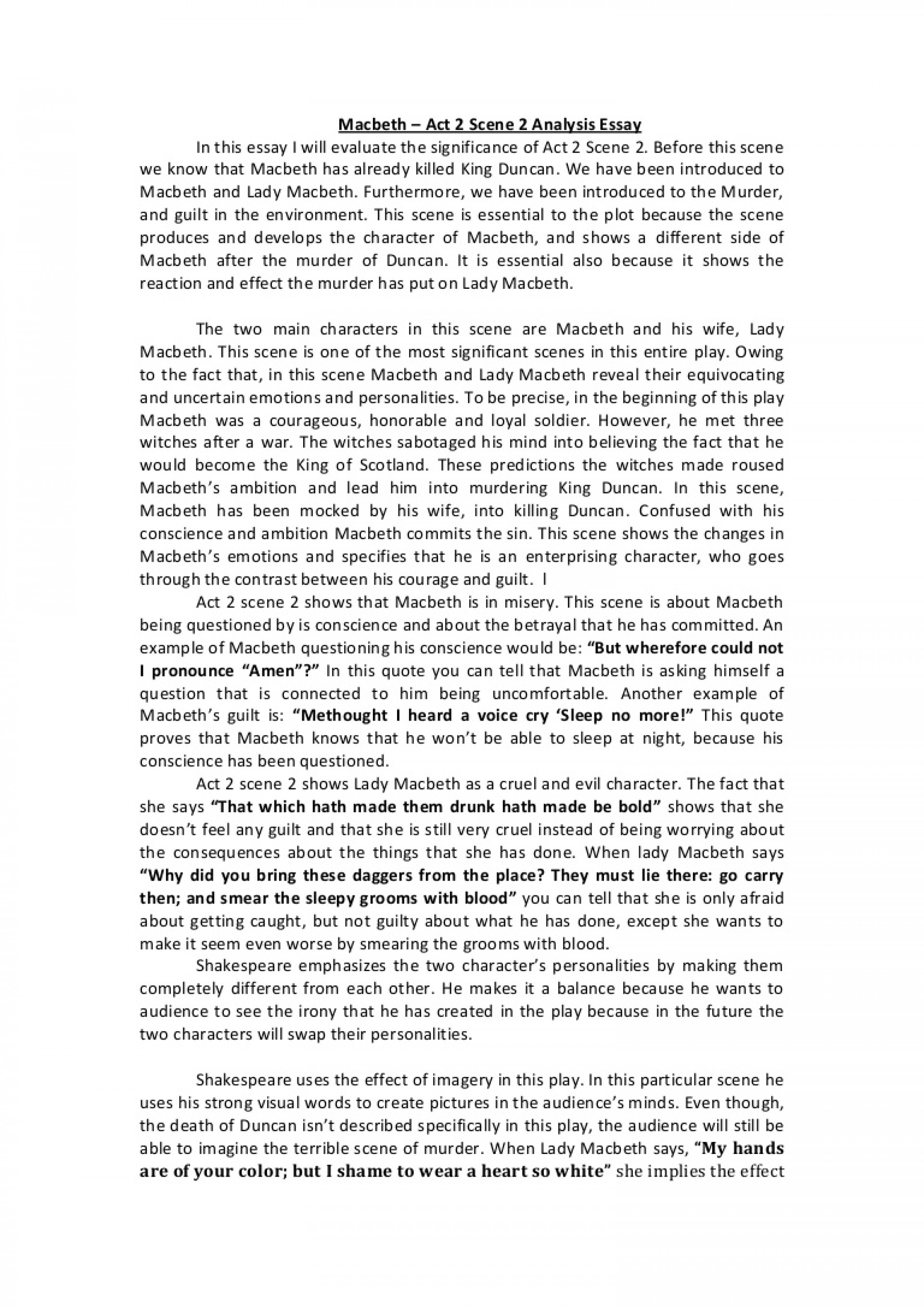 012 Conclusion For Macbeth Essay Ambition Example Act2scene2analysisessay Phpapp02 Thumbnail Best 1920