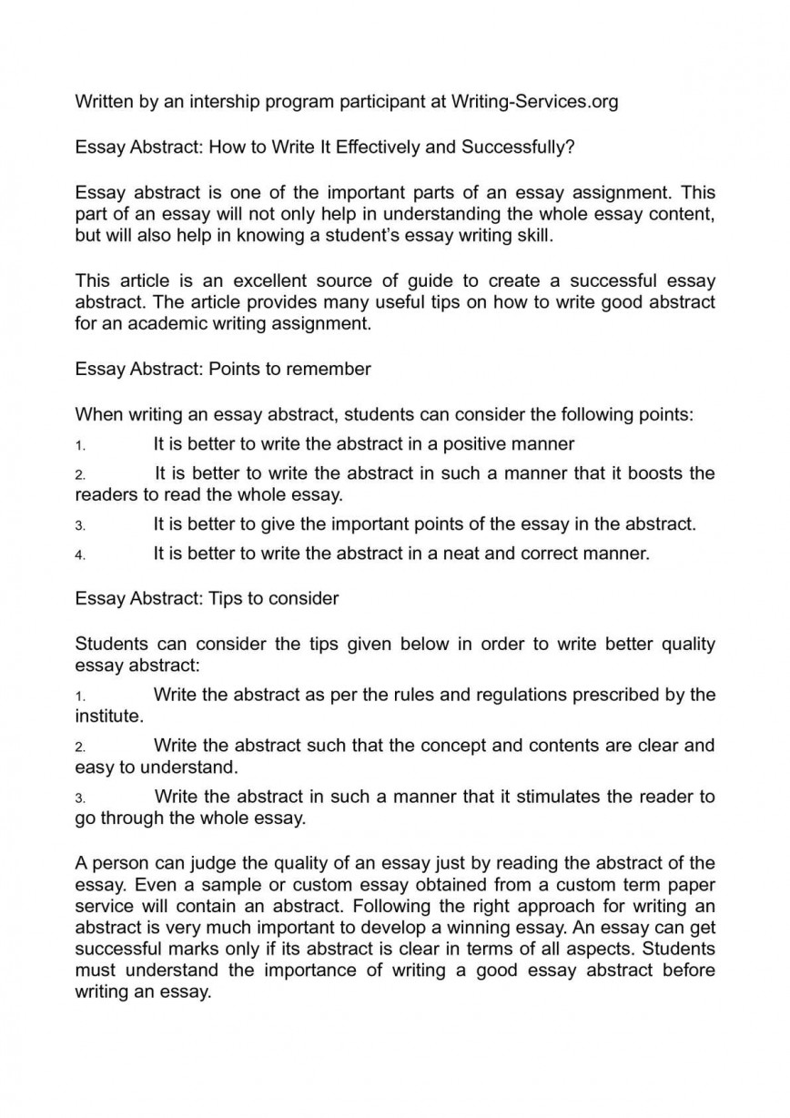 012 Essay Example Abstract Unbelievable Topics For Mba Sample Abstract/universal Definition