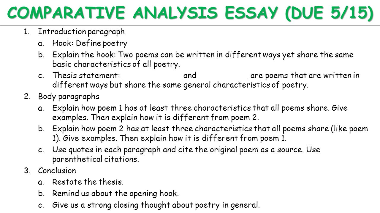 how to write a literary comparison essay