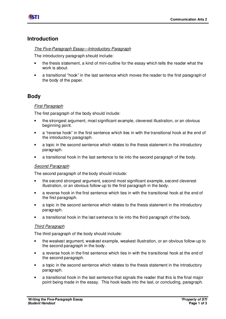 012 Essay Example First Sentence Of An Week16sessions46 48writingthefive Paragraphessays Handout Phpapp02 Thumbnail Frightening Academic Good Writing The Draft Full
