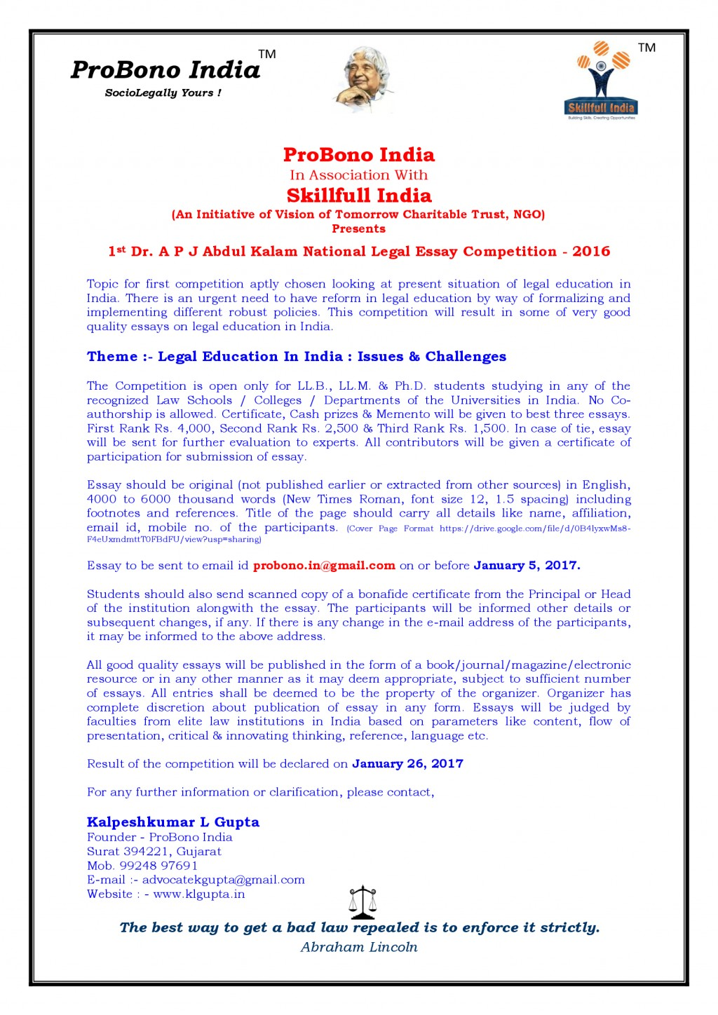012 Essay Example Font Size 1st Dr P J Abdul Kalam National Level Competition With Skillfull Stunning Format College Apa Large