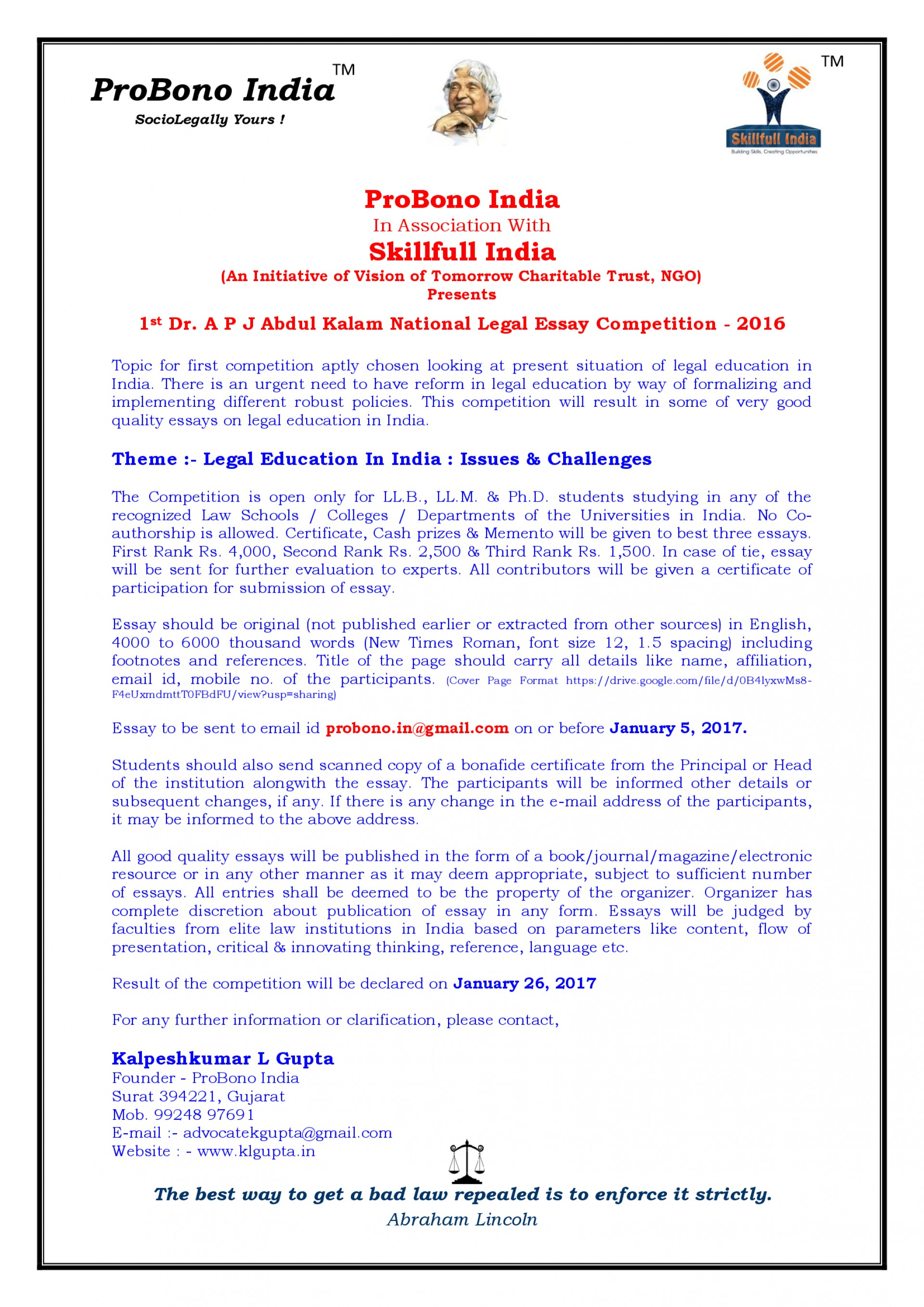 012 Essay Example Font Size 1st Dr P J Abdul Kalam National Level Competition With Skillfull Stunning Format College Apa 1920