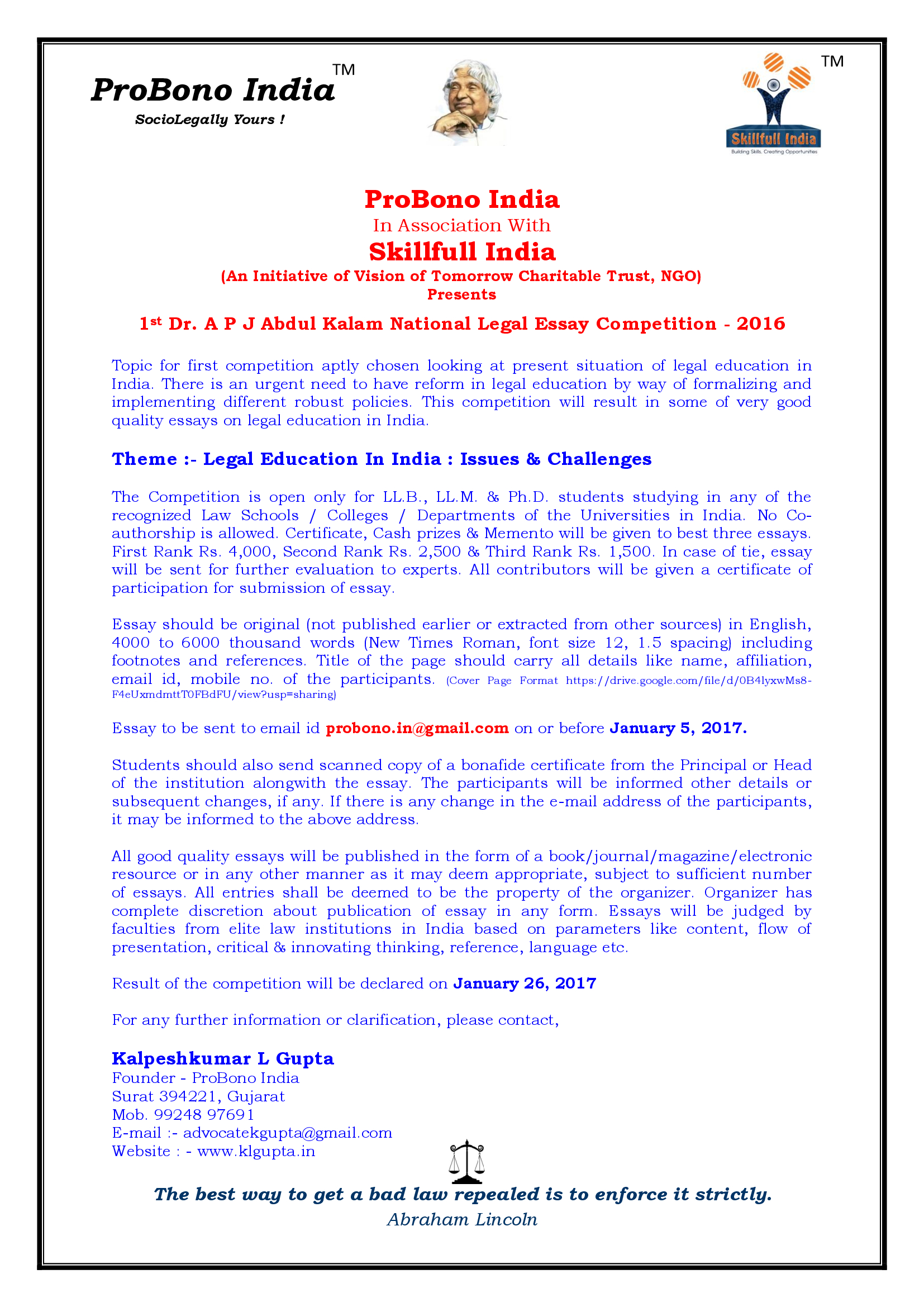012 Essay Example Font Size 1st Dr P J Abdul Kalam National Level Competition With Skillfull Stunning Formal Apa Full