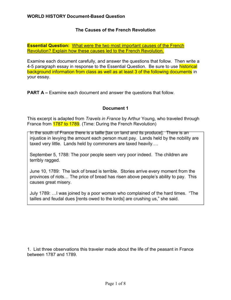 012 Essay Example French Revolution 007071144 1 Phenomenal Outline Titles Causes Conclusion