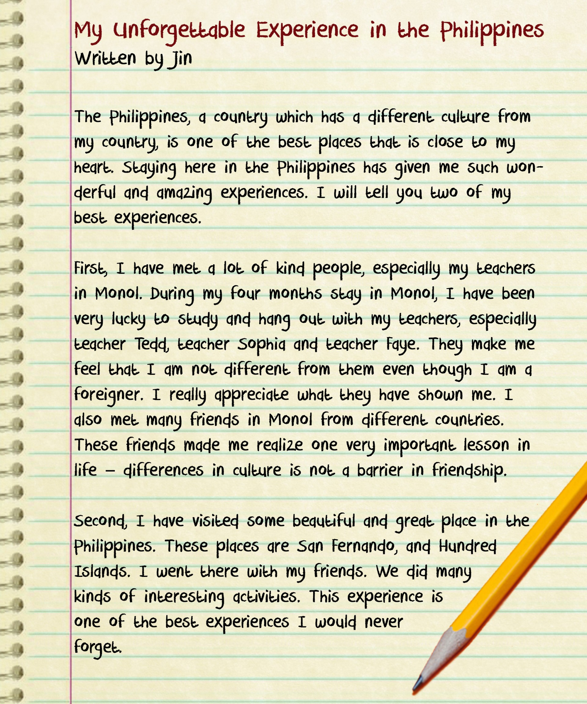 Unforgettable moment essay