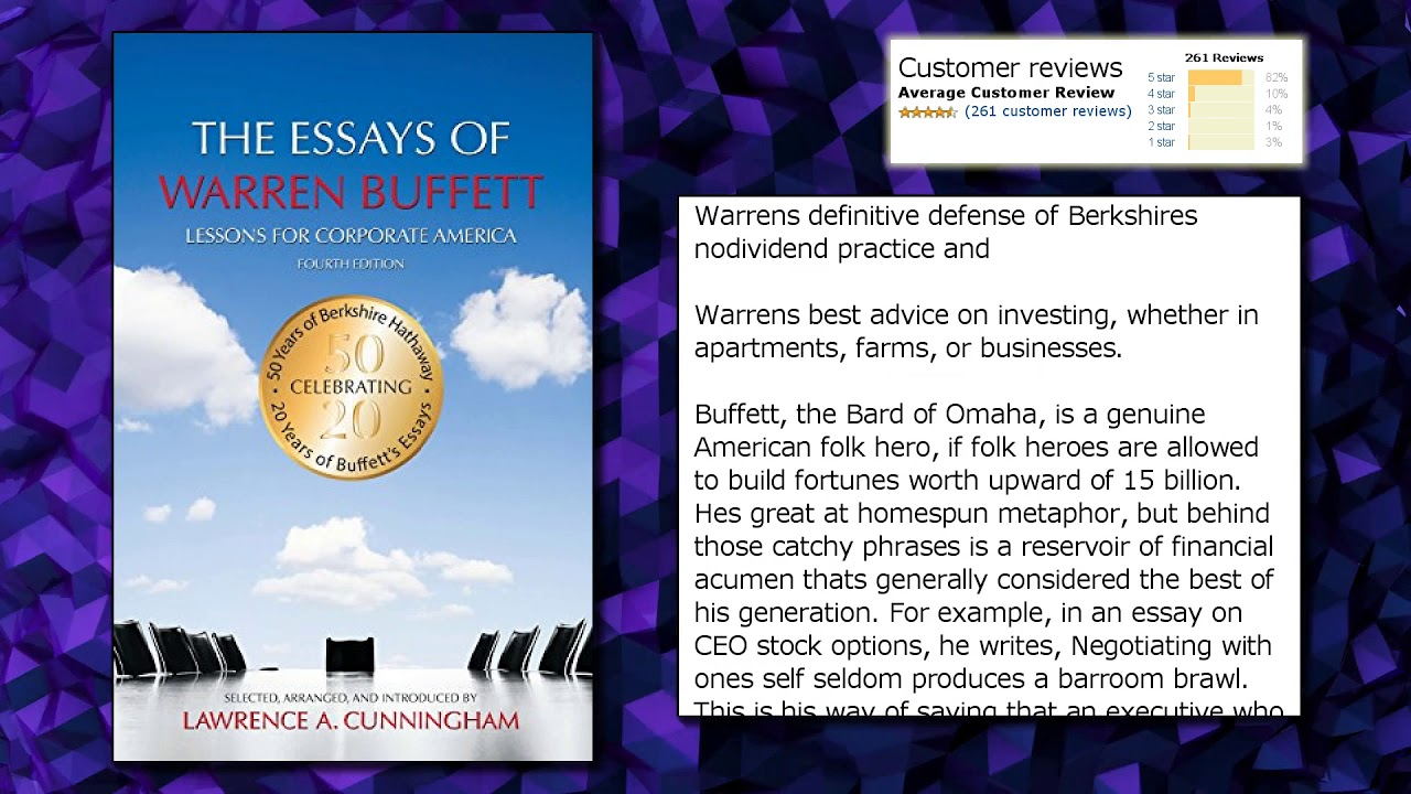 012 Essay Example Maxresdefault The Essays Of Warren Buffett Lessons For Corporate Remarkable America Third Edition 3rd Second Pdf Audio Book Full