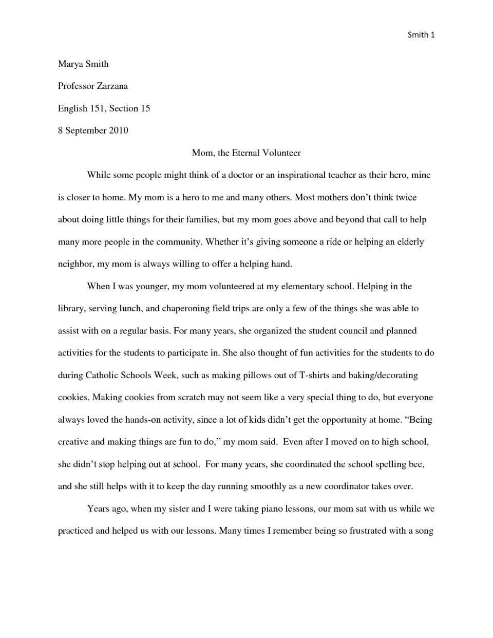 012 Essay Example My Hero Mom Essays Template Heroism About