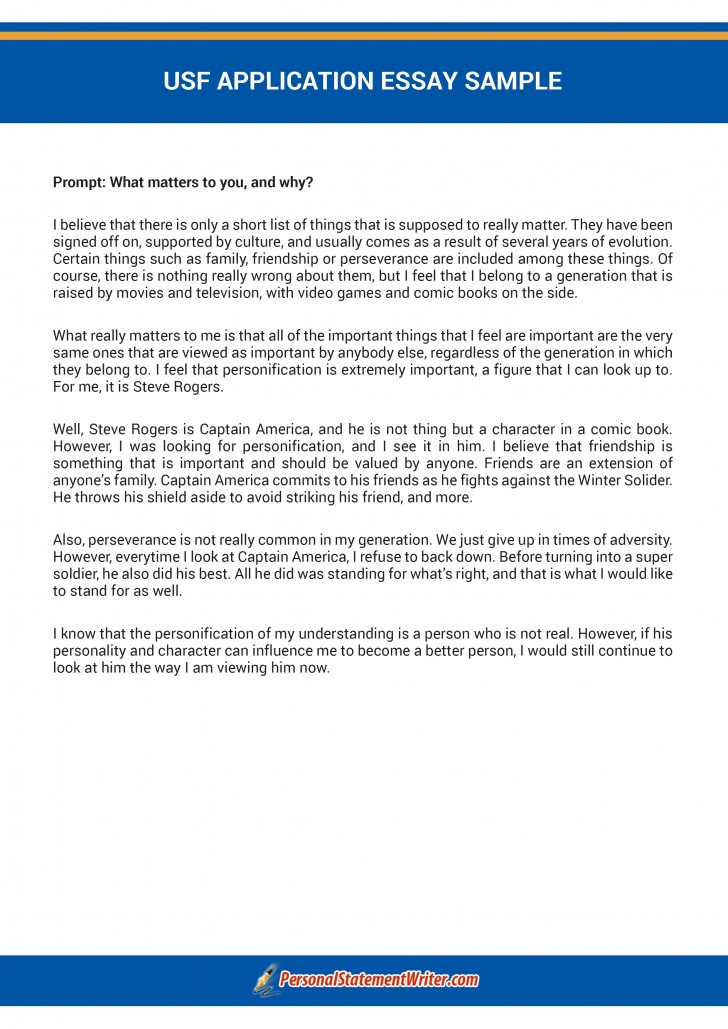 usf application essay