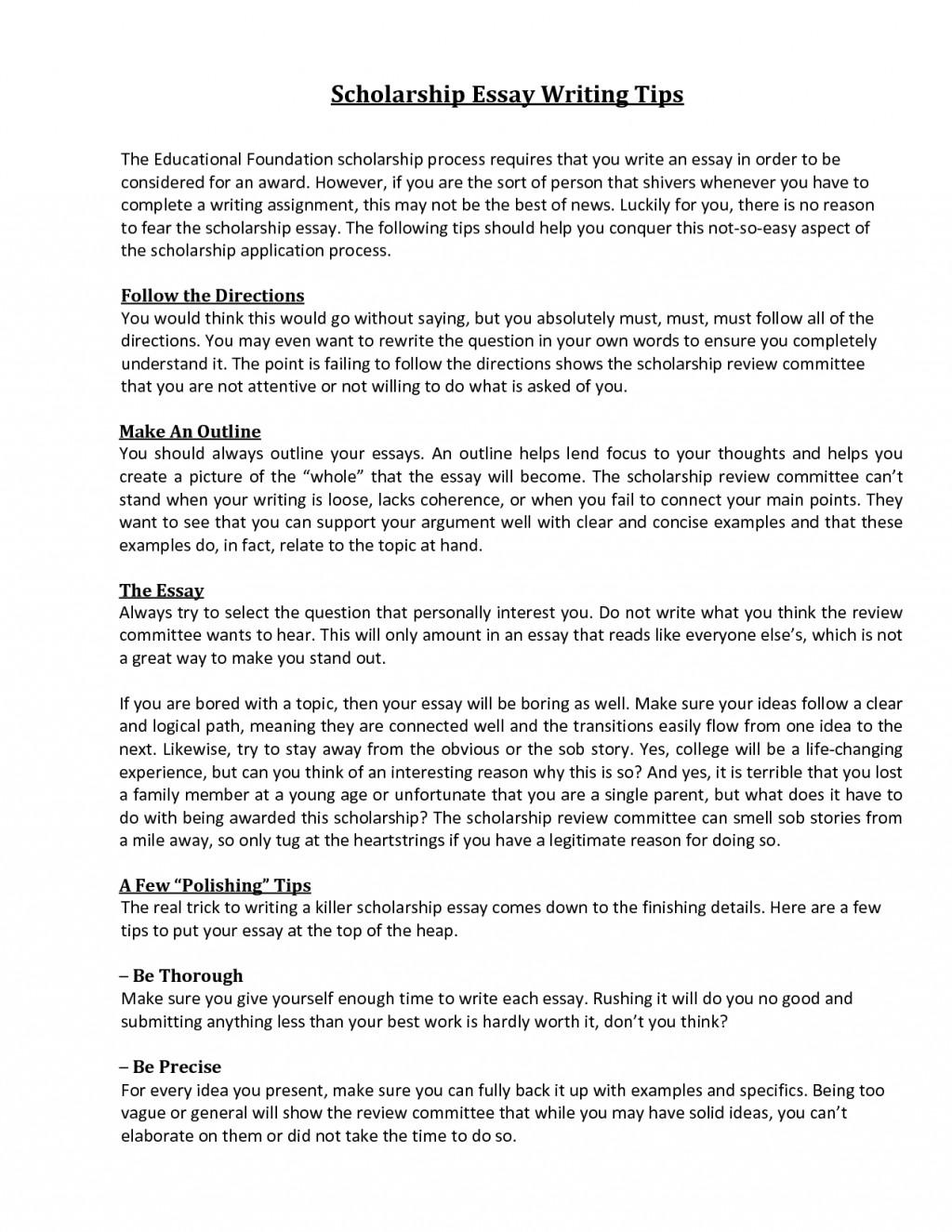 012 Essay Example Sample Winning Scholarship Essays Sensational Large